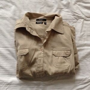 Khaki Button Down Shirt.